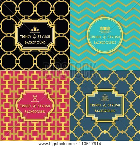 Golden and colorful trendy and stylish decoration background set with border tags