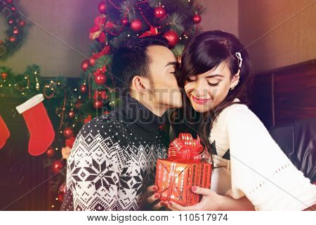 exchanging gifts at Christmas
