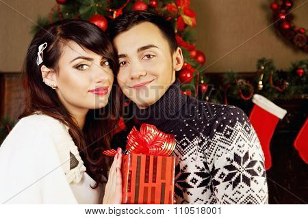 couple with a gift