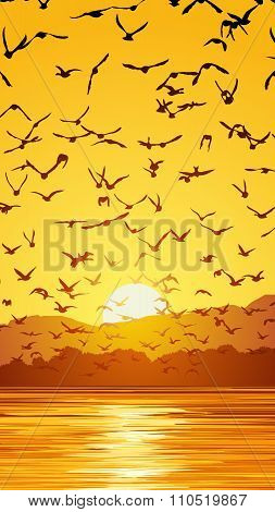 Vertical Illustration Flock Of Birds At Sunset.