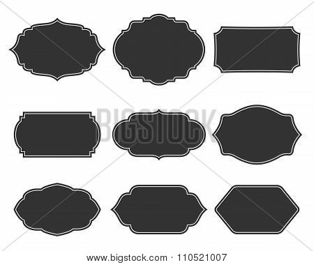 Set vector monochrome vintage frames.