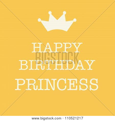 Pink Happy Birthday Card With A Princess Crown