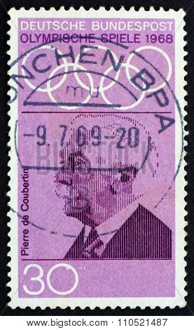 Postage Stamp Germany 1968 Pierre De Coubertin