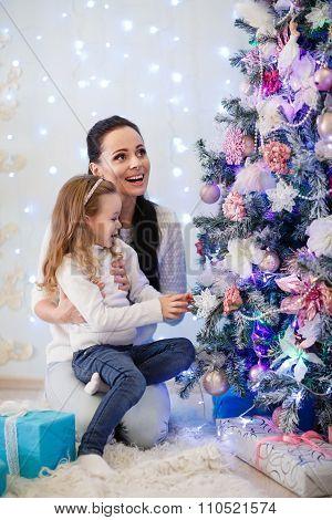Happy Family And Christmas Tree.