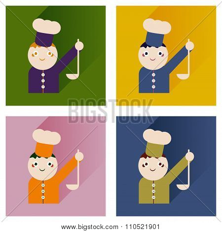 Vector set flat icons with long shadow cook with ladle