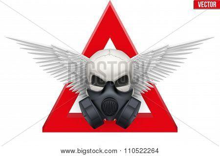 Human skull with Respirator mask. Vector