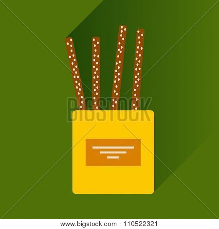 flat icon with long shadow cheese sticks