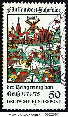 Postage Stamp Germany 1975 View Of Neuss, Woodcut