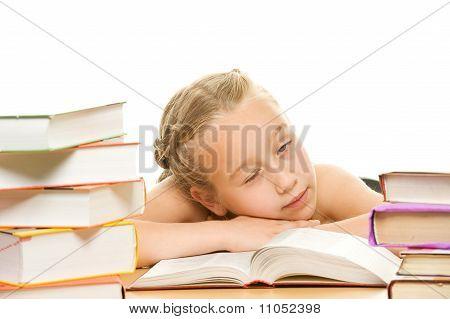 Little tired schoolgirl