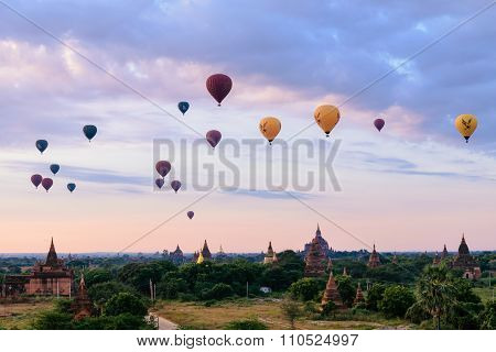 Balloons Flying Over The Pagodas At Sunrise At Bagan, Myanmar