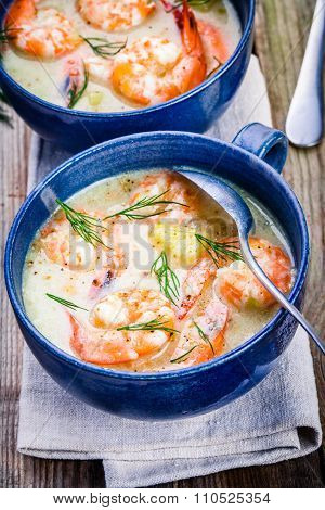 Homemade Chowder With Shrimps