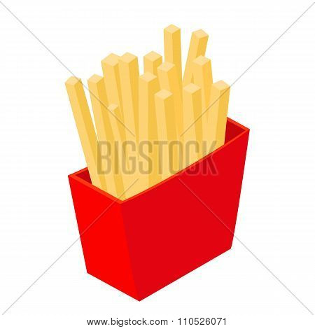 French fries isometric 3d icon