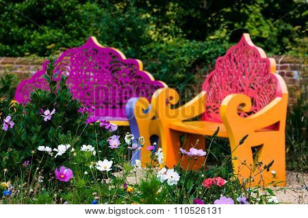 Wildflower garden and benches outdoor relaxing space