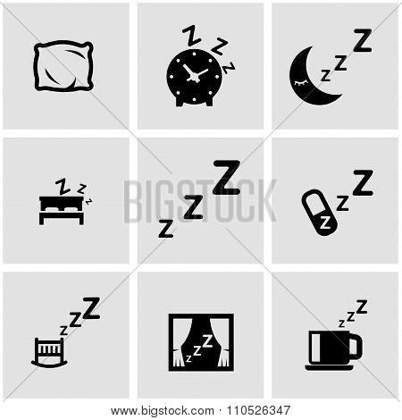 Vector Black Sleep Icon Set