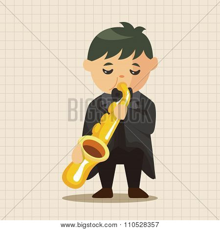 Character Musician Trumpeter Theme Elements