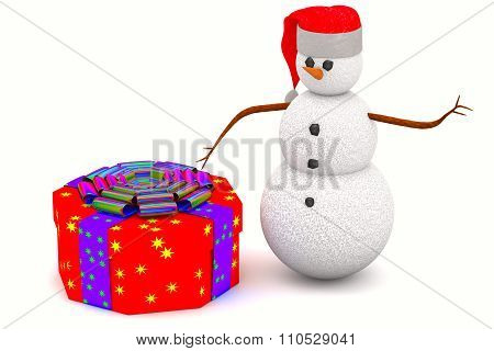 Gift Box And Snowman