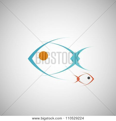 abstract blue fish on a white background