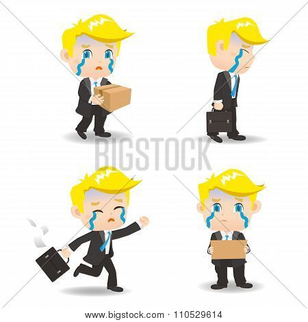 Cartoon Illustration Businessman Fired