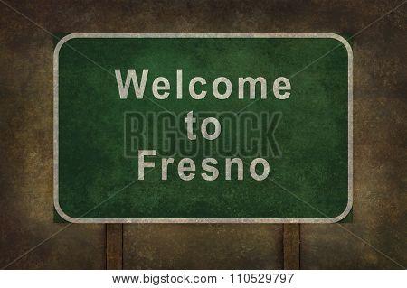 Welcome To Fresno Roadside Sign Illustration