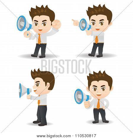 Businessman Shout Megaphone