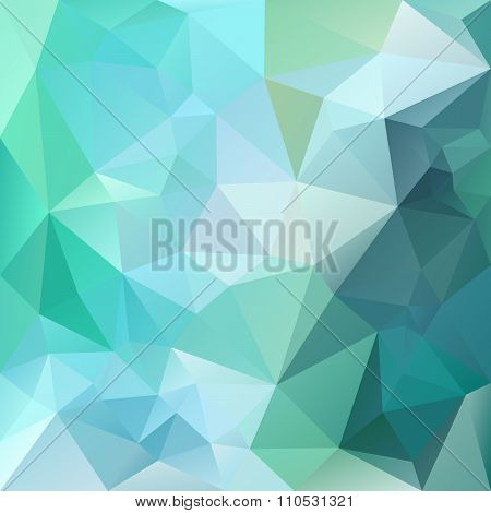 Vector Polygon Background With Irregular Tessellations Pattern - Triangular Design In Green Colors