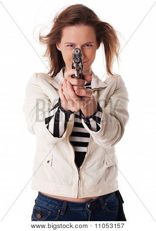 Smiling Woman Aiming With Gun