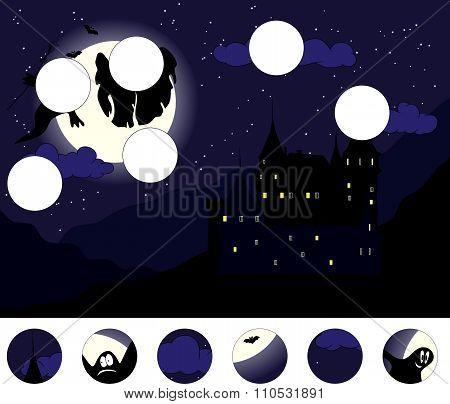 Old Castle With Ghosts In The Moonlit Night: Complete The Puzzle And Find The Missing Parts Of The P