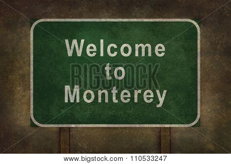 Welcome To Monterey, Roadside Sign Illustration