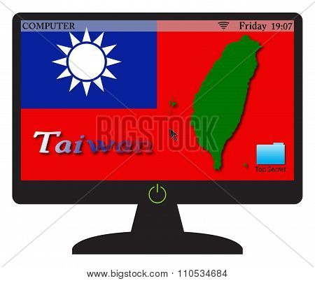 Taiwan Computer Screen With On Button