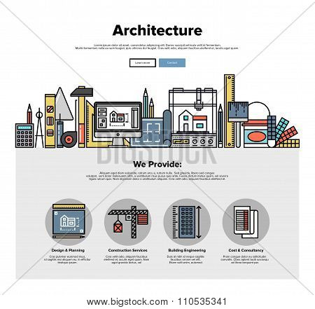 Architecture Engineering Flat Line Web Graphics