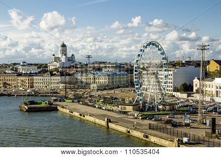 Shopping Area And The Pier In The Port Of Helsinki. Finland.