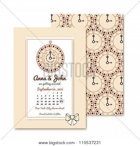 Wonderland wedding invitations. Vintage design with playing cards, old key.