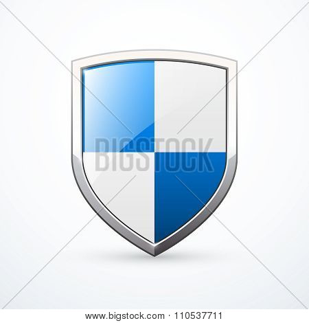 White and blue shield