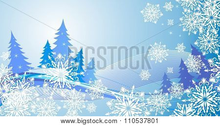 Winter banner with snowflakes and blue conifers