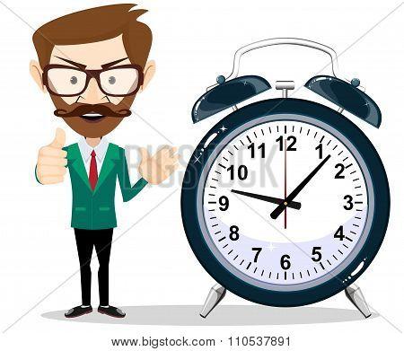 Man with an alarm clock