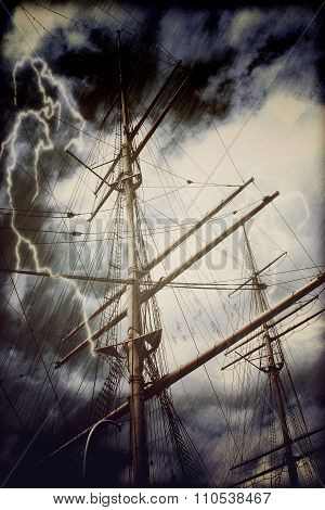 Rigging Of A Tall Sailing Ship In Rain And Thunderstorm