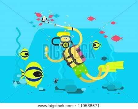 Diver character flat design