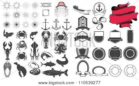 Seafood Emblem Design Elements Set