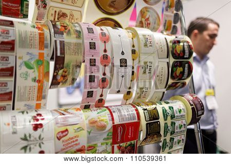 ST. PETERSBURG, RUSSIA - NOVEMBER 18, 2015: Food labels in the International food exhibition PeterFood. The exhibition is setting up contacts between food manufacturers and retail networks