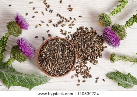 Seeds Of A Milk Thistle With Flower (silybum Marianum, Scotch Thistle, Marian Thistle ) On Wooden Ta