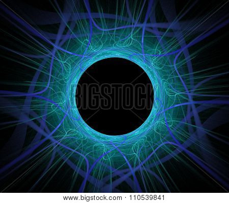 Abstract Fractal Background With Eclipsed Blue Sun Or Black Hole Texture