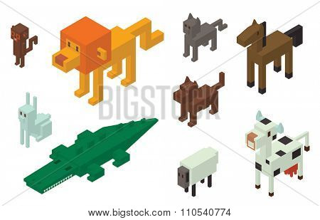 Animal vector 3d isometric icons collection. Wild animals collection. Jungle animals, vector animals, horse, lion, monkey. Cat and dog. Crocodile, cow, sheep and rabbit. Pets animals icons silhouette