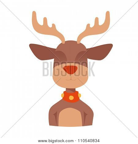 Santa Claus happy cartoon Christmas deer flat icon. Reindeer vector art flat illustration. Deer animal icon isolated. Reindeer vector symbol. Reindeer silhouette. Deer icon isolated on white