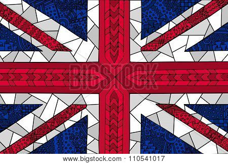 Great Britain Flag Zentangle Colorful