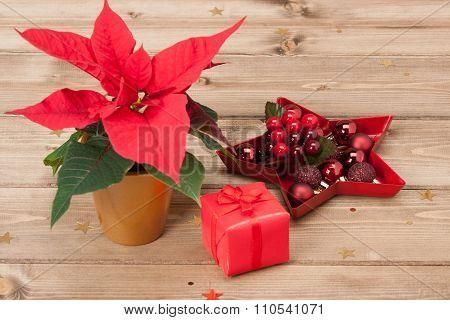 Christmas Symbol. Poinsettia Flower. Gift Box. Decorations. Wood