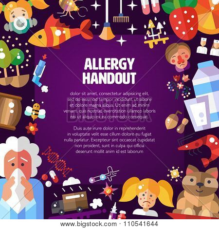 Illustration of poster with flat design allergen icons and infographics elements. Allergy handout.