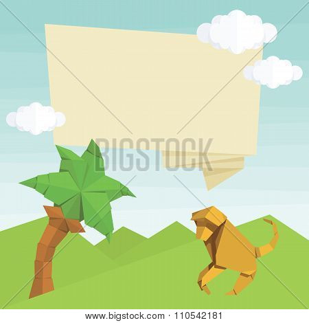 Origami monkey, palm tree, text balloon and clouds. Vector simple flat illustration. Summer cartoon