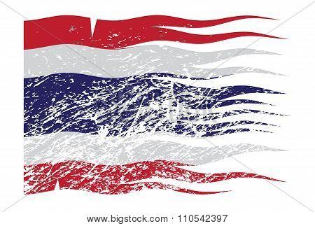 Wavy Thailand Flag Grunged