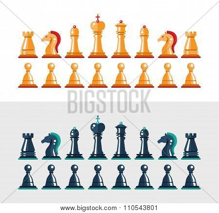 Flat design isolated black and white chess figures. Collection of the king, queen, bishop, knight, r