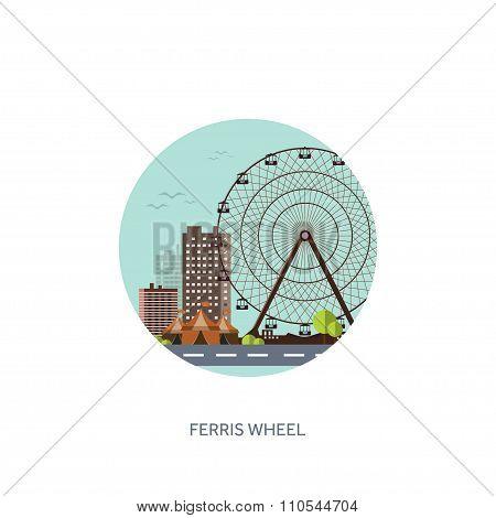 Vector illustration. Ferris wheel. Summer carnival. Funfair background. Circus park. Roller coaster.